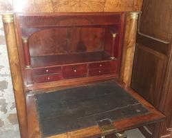 Empire secretary desk in walnut with detached columns
