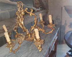 2 identical Louis XV style cage chandeliers  from the 50s  bronze  2 different sizes
