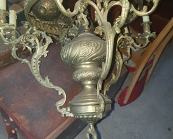Suspension with 9 bronze candlesticks end of the 19th century  green opaline diameter 45
