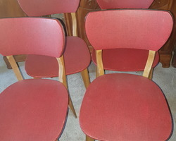 Suite of 4 chairs  beech frame covered with red skai  from the 50s