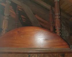 table ronde 4 pieds en acajou à allonges