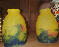 2 tulipes en pâte de verre jaune et bleu début 1900