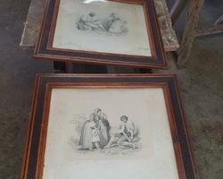 paire de cadre 19ème avec gravures