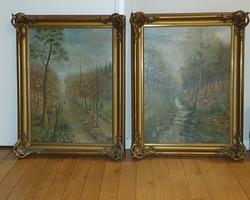 Paire d'huile sur toile a décor champêtre
