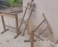 Pair of early 20th century wooden trestles