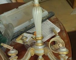 Lustre en bois polychrome des années 20/50