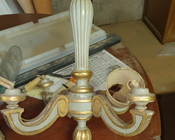 Polychrome wood chandelier has 3 branches (gray and gold)  from the 20s / 50s