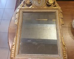 Miroir en bois polychrome et doré 18ème