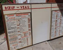 Panneau d'affichage de boucherie