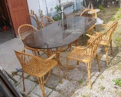 Garden furniture in cast aluminum imitation Bamboo