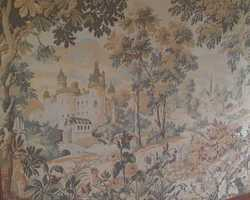 Tapestry in the style of 1950s Aubusson in a wooden frame
