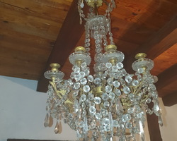 8-light bronze and crystal chandelier from the early 20th century  comes from a bourgeois residence in Nancy  In very good shape