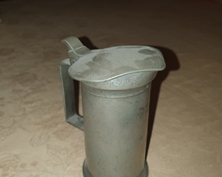 lot of old tin 19th pitchers and series of measurements