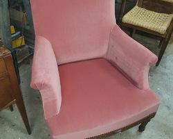 Pink velvet armchair