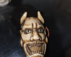 mid-19th ivory sculpture depicting a devil's head  Perfect condition