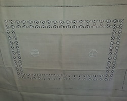 Embroidered tablecloth and 30/50s monogrammed R.G. towels