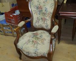 Louis Philippe walnut medallion chair