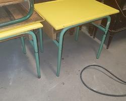 Small school tables in tube for kindergarten
