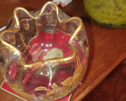 Baccarat ball vase and enhanced with gold