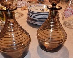 Pair of brown decanters