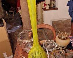Vase en pate de verre jaune et bleue 1920/1940