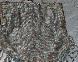 silver knit evening clutch
