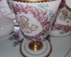 Opaline set with enamelled decor at the end of 19th with monograms