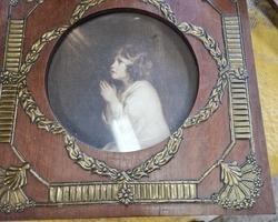 3 wooden frames and art nouveau brass decorations Around 1920-1930