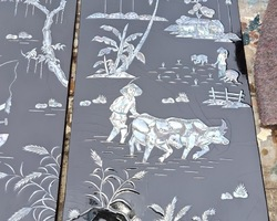 Suite of four panels lace-up decorations in mother-of-pearl
