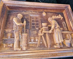 2 carved wooden panels from the 50s