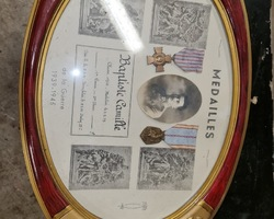 Frame with decoration of the second war  with the photo and these 2 medals